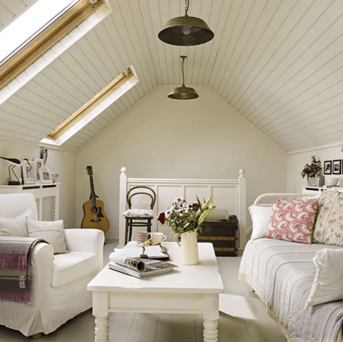 cozy attic guest room