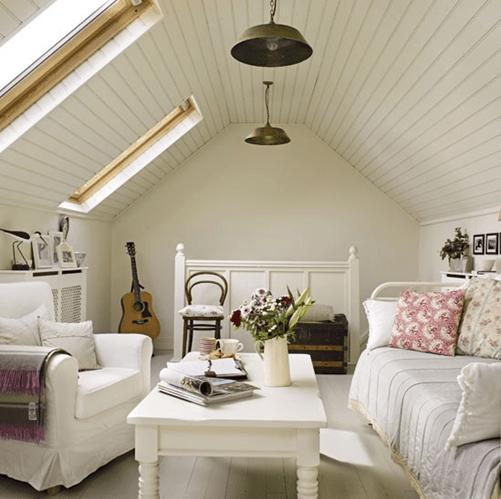 cozy attic guest room
